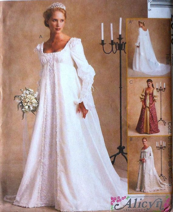 Renaissance Style Wedding Gown Sewing Pattern Uncut Mccalls 2645 Sizes 10 14 Dress Formal Princess Queen