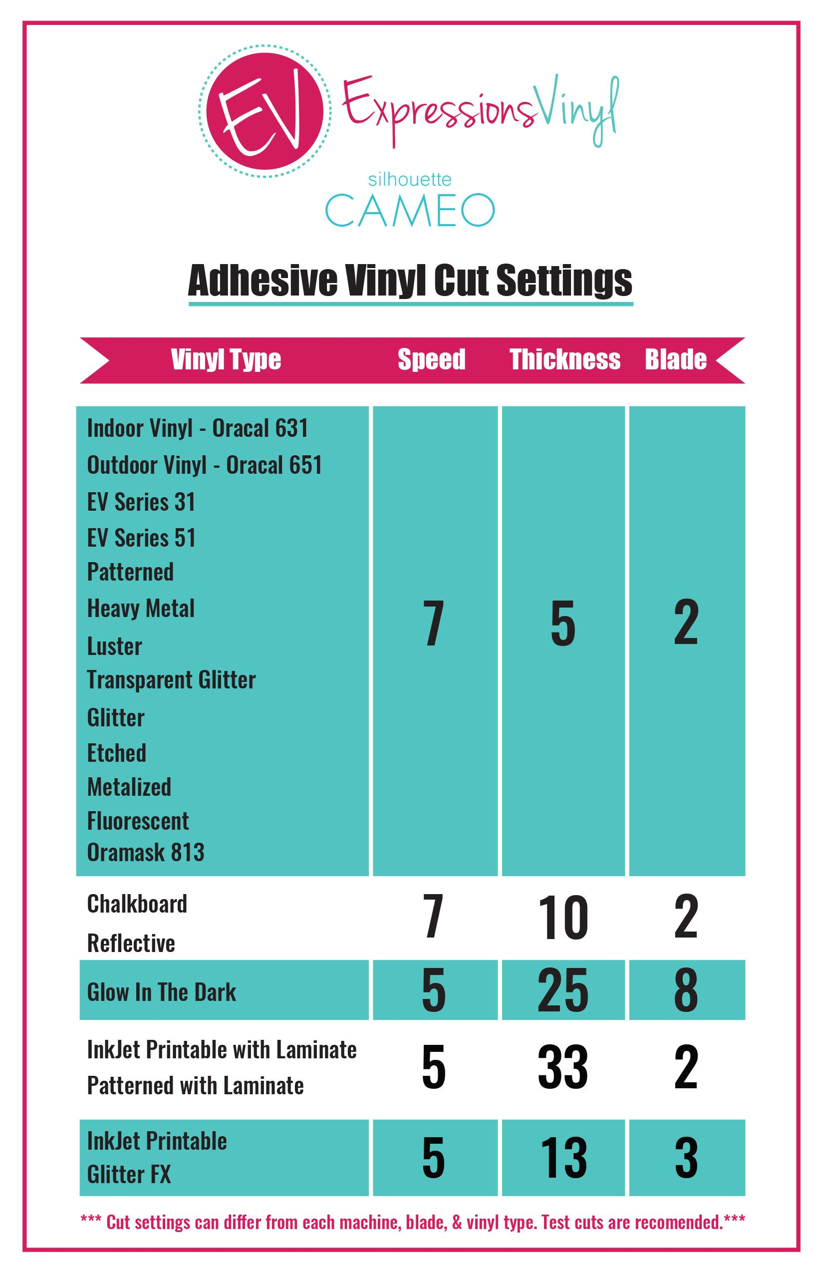 Adhesive Vinyl Cut Settings Silhouette Ideas