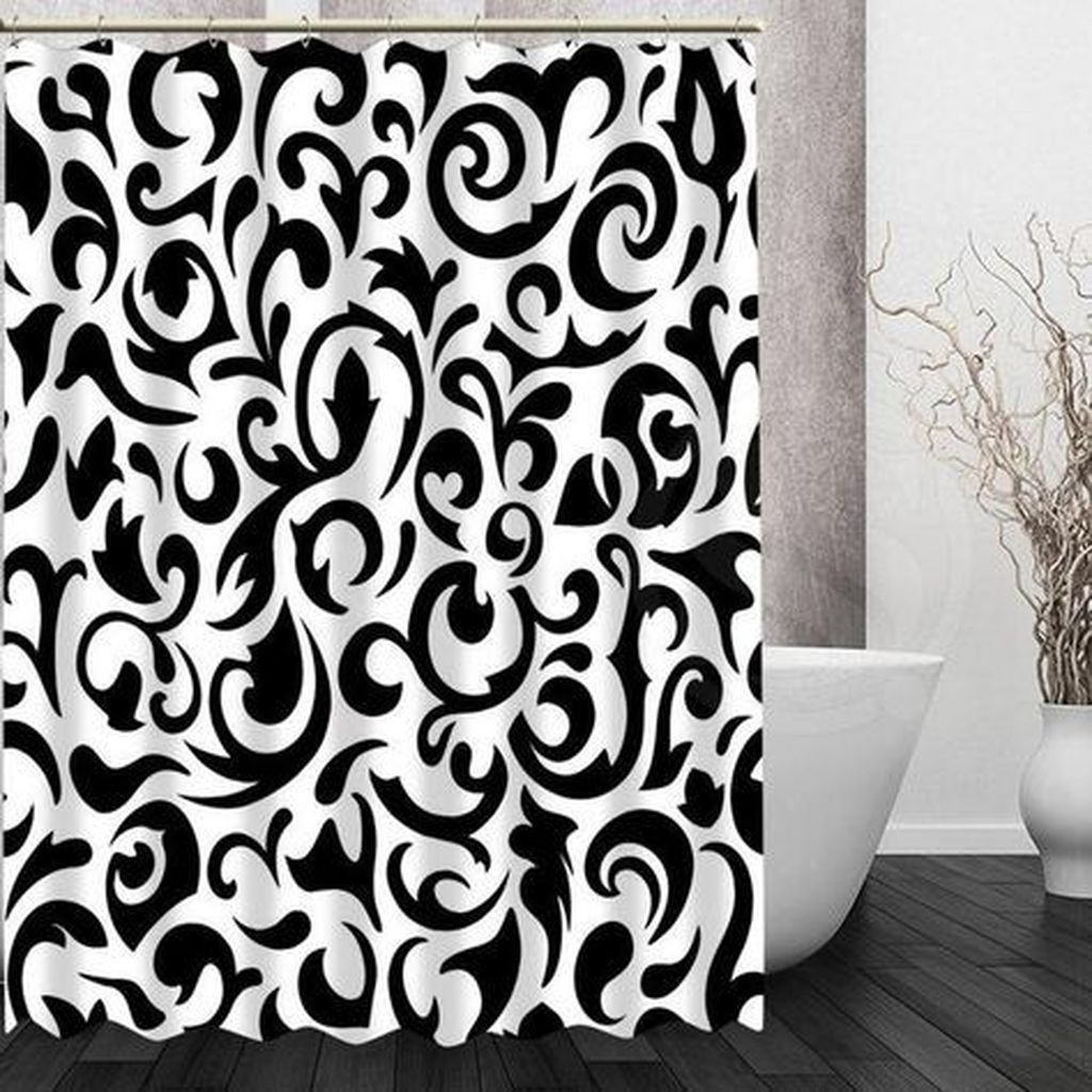31 Amazing Black And White Shower Curtain For Your Bathroom Decor In 2020 Black Shower Curtains Patterned Shower Curtain Modern Shower Curtains