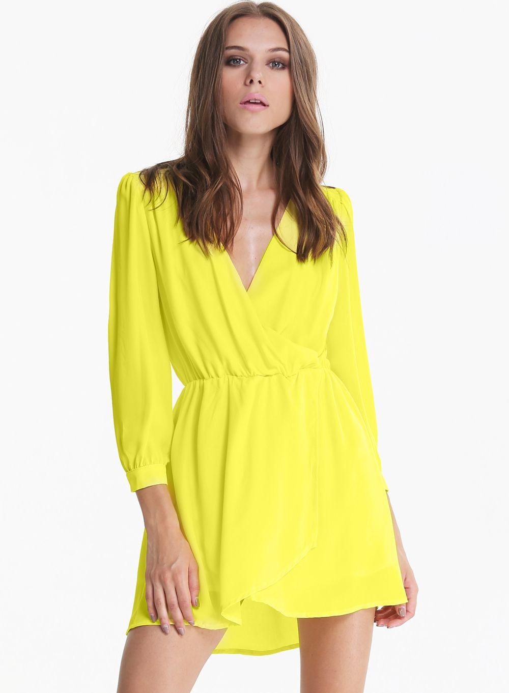e0ee115e2 Vestido Neon Amarillo de manga larga de cuello V 16.99
