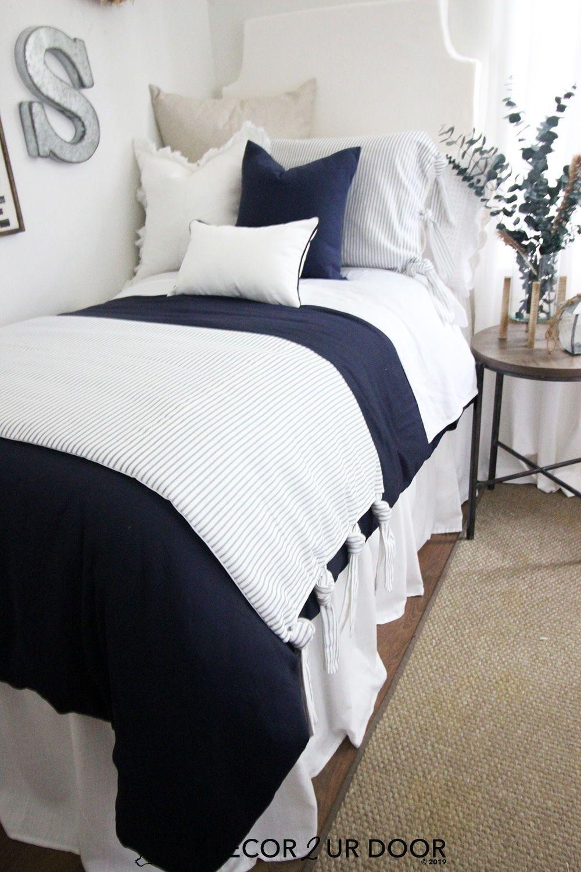 Farmhouse navy ticking stripe ties dorm bedding set