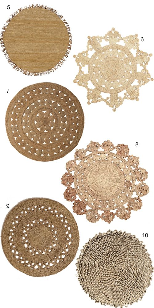 Round Jute Rugs Have A Ton Of Tactile Eal For Adding Layer Texture In Neutral Room Try Layering Over Rug Or Hang Swirly On The