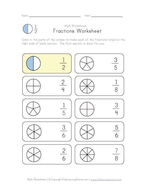 Free Worksheets » Coloring Fractions Worksheets Free - Free Math ...