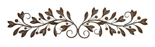 Large 48 Tuscan Olive Branch Metal Pediment Toppers Door Wall Art