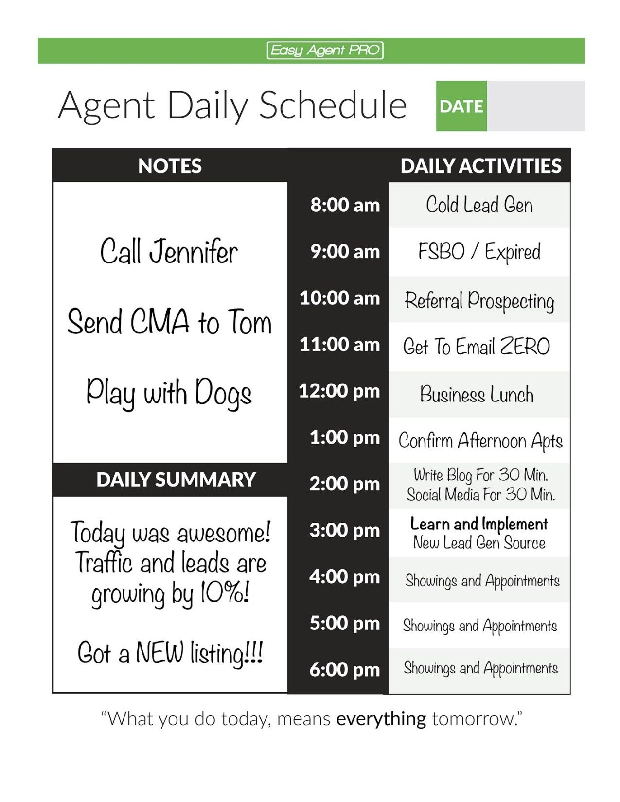 Real Estate Agent Daily Planner To Double Your Leads