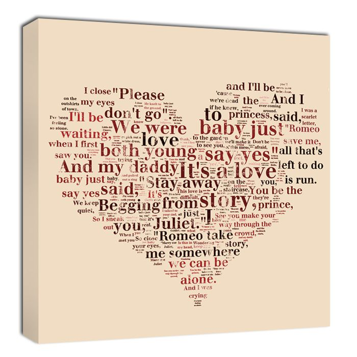 Romantic Gifts word art lyrics heart shape collage Personalized ...
