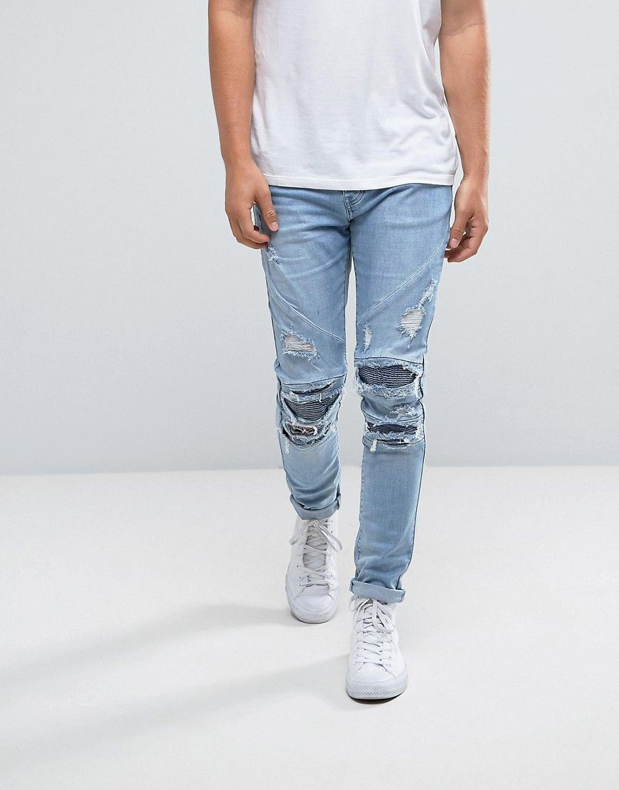 Cayler & Sons Skinny Biker Jeans In Blue With Distressing - Blue