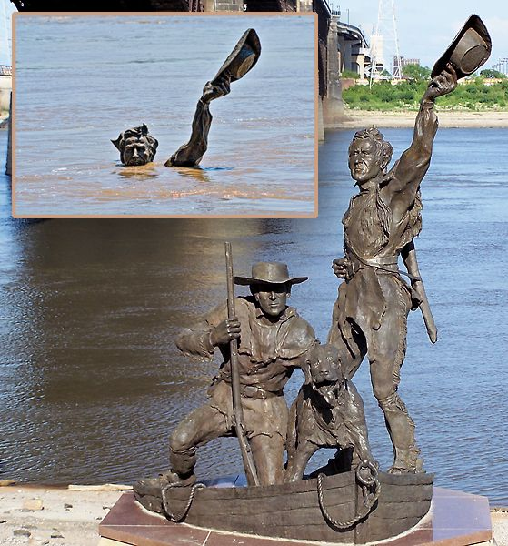 The Captains' Return | Artist: Harry Weber | Year: 2006 | Where: St. Louis, Missouri  Why You Need to See it: The Mississippi River sometimes floods to the point where you barely see this Lewis & Clark statue, if at all; so you better catch a sighting of it whenever you can!