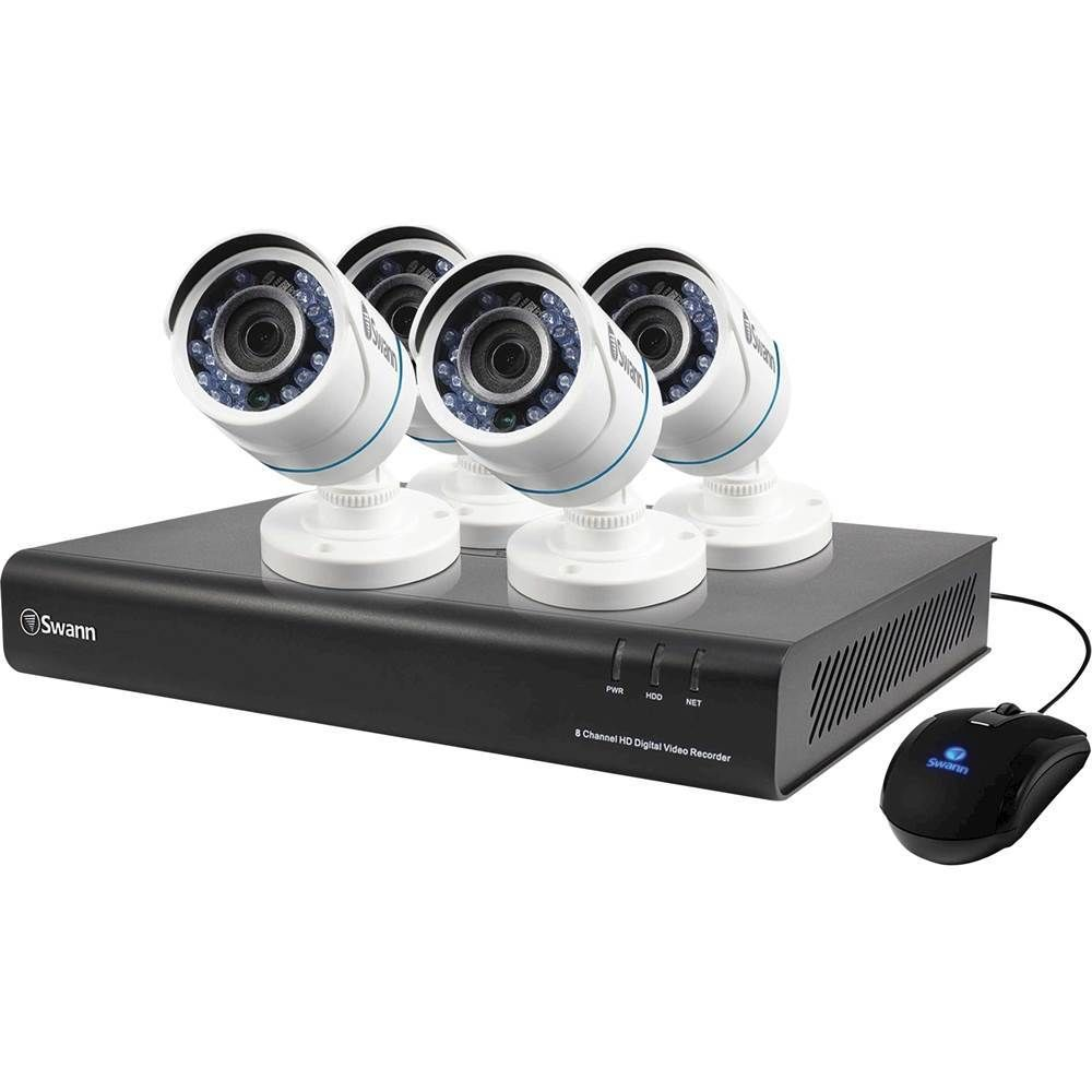 Swann - PRO Series HD 8-Channel, 4-Camera Outdoor Wired 1TB