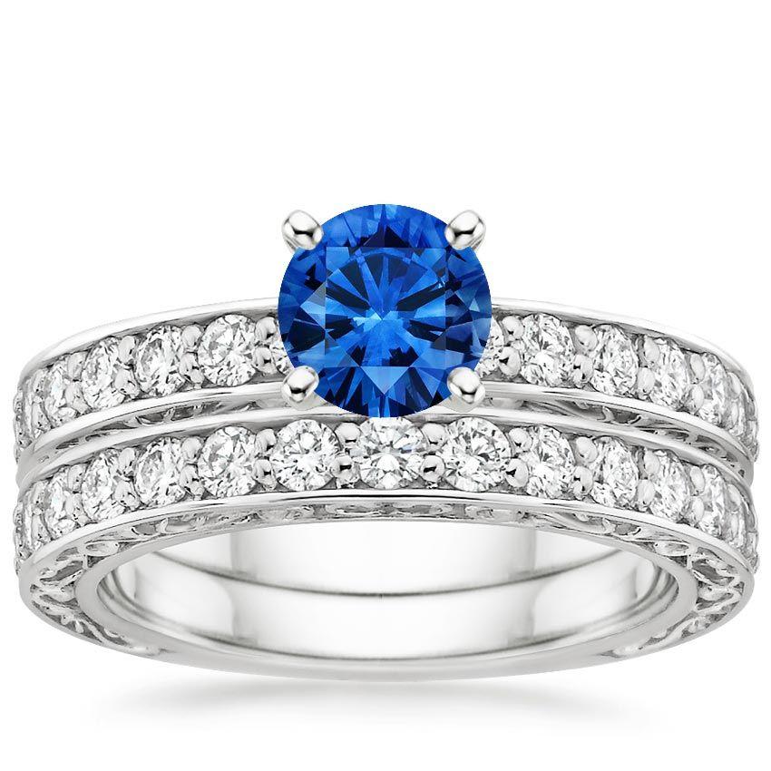 Blue Sapphire Antique Scroll Bridal Set Engagement Ring Platinum