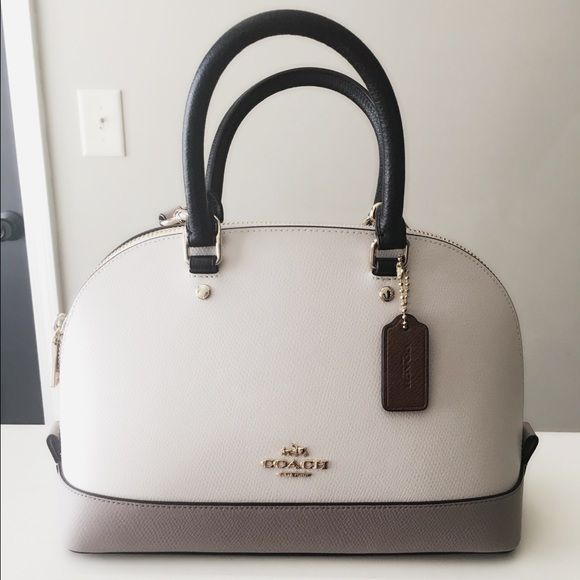 Coach tricolor cross body bag Brand new with tag in cream, grey and black color  cross body bag and it comes with adjustable shoulder strap and is 100% ... 7528adf0c9