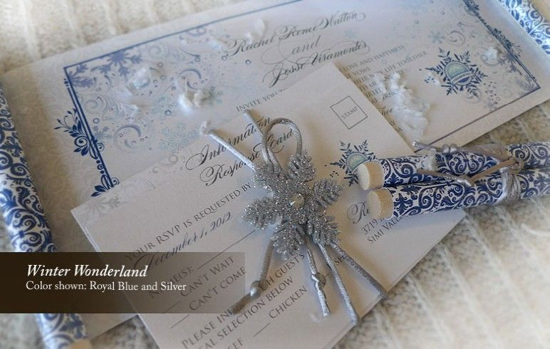 navy blue and silver winter wedding invitations winter themed