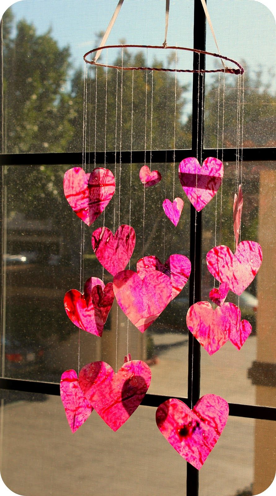 DiY Project: Crayon Waxed Paper Stained Glass Heart Mobile for Valentine's Day