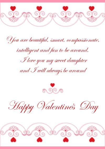 Printable Valentines Cards for daughter myfreeprintable – Beautiful Valentine Cards