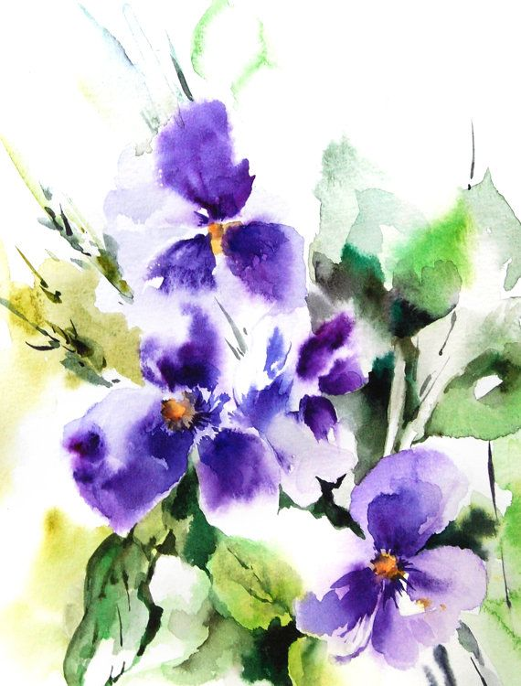Purple Flowers Art Print From Watercolor Painting Watercolour
