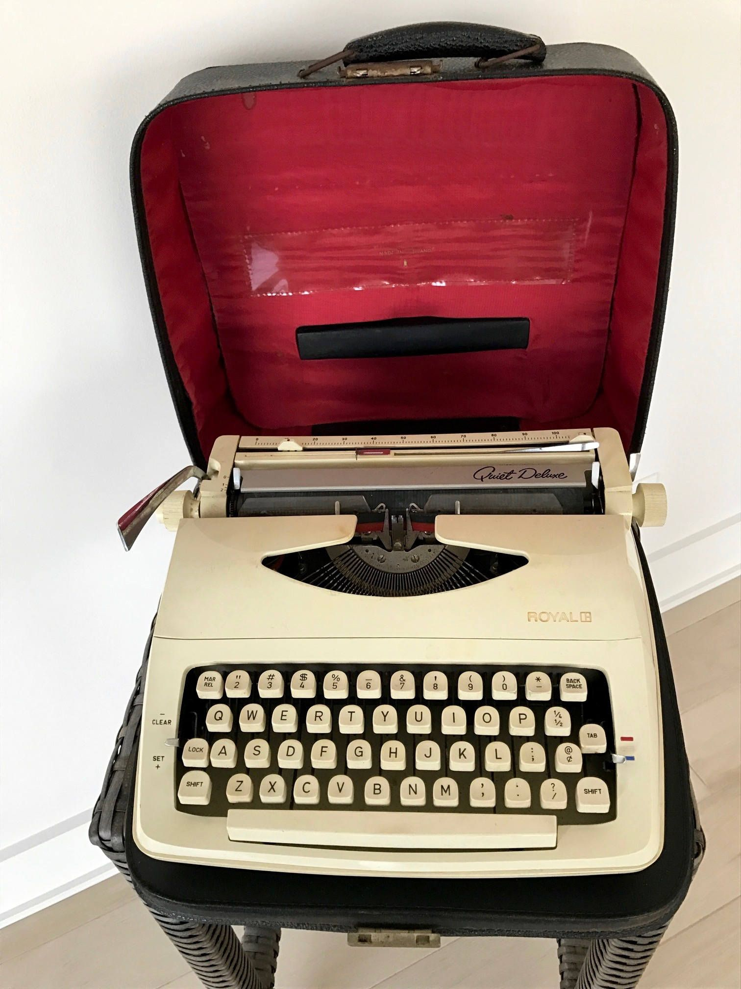 Vintage Royal Quiet Deluxe Typewriter With Carrying Case Mid Century Typewriter Retro Royal Portable Traveling Typewriter By Vintage Typewriter Flaws And All