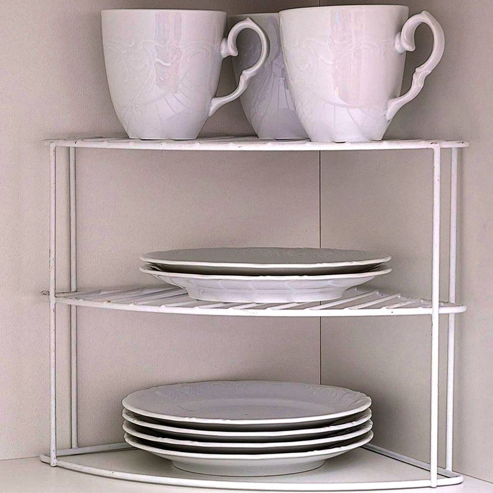 Large Kitchen Corner Shelf Insert 2 Levels Rack Organizer ...