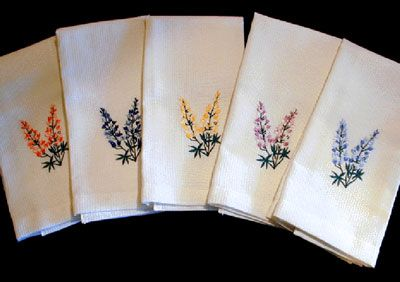 lupins embroidery tea towels - Google Search