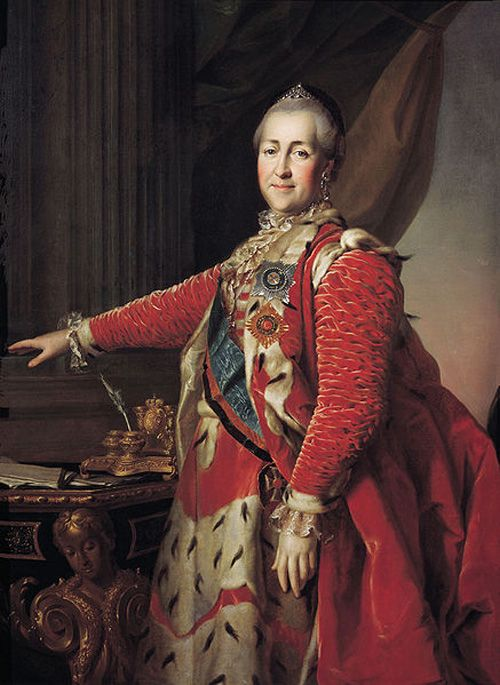 Ekaterina II, Empress and Autocrat of All the Russias (born 1729, acceded 1762, died 1796), painting (1782), by Dmitry Levitzky (1735-1822).