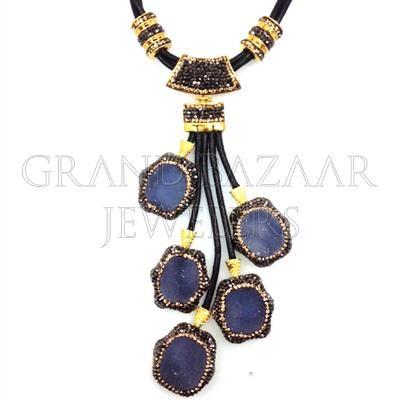 Multi Station Gemstone Leather Necklace Ethnic jewelry Artisan