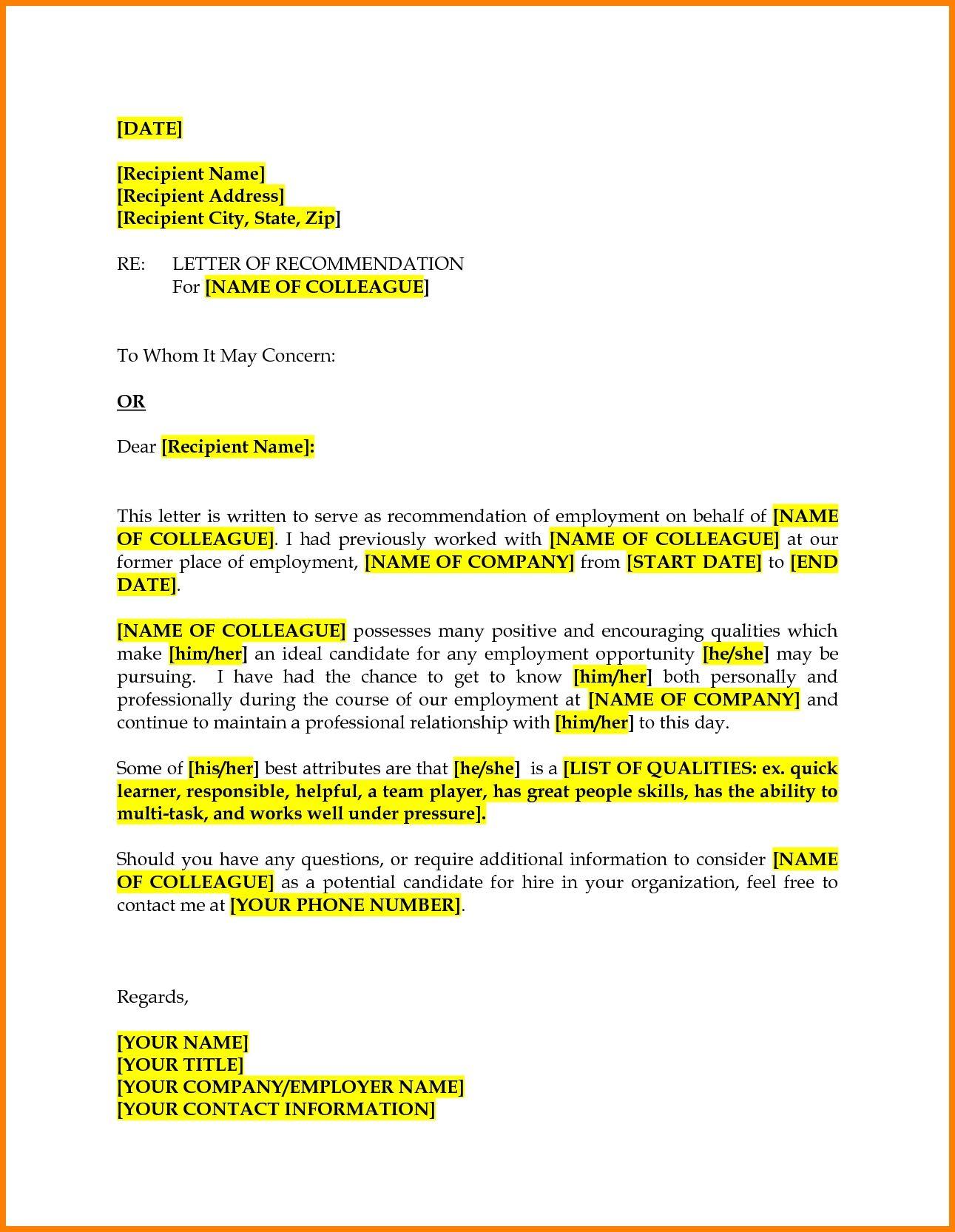 colleague recommendation letter