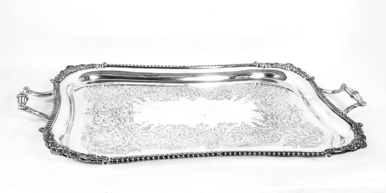 A charming large antique silver plated tray from William Hutton \u0026 Sons circa 1870.  sc 1 st  Pinterest & A charming large antique silver plated tray from William Hutton ...