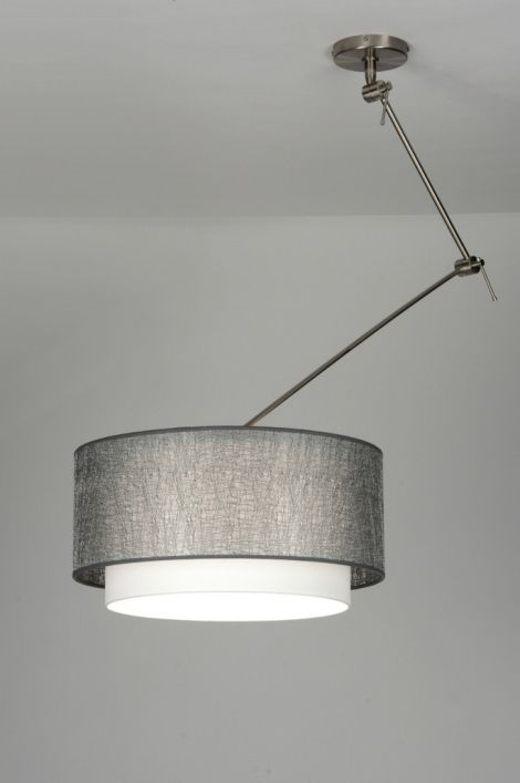 hanglamp 30438: modern, staal , rvs, stof
