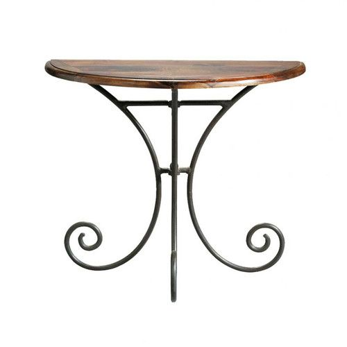 Table console demi lune en fer forg et bois de sheesham massif l 90 cm my home ideas - Console demi lune en fer forge ...