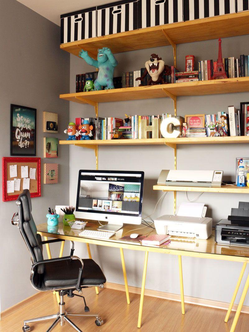 Decora O Da Esta O De Trabalho Study Rooms Corner Shelf And  -> Sala De Estar Decorada Tok Stok