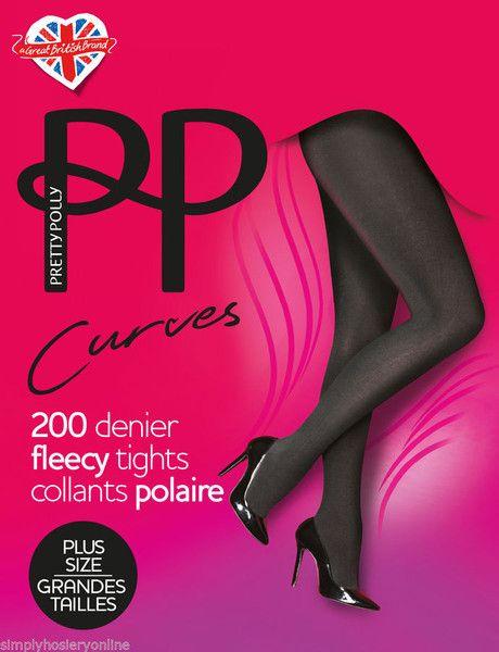Pretty Polly Curves 200 Denier Fleecy Thermal Warm Tights XL Black to 6' tall