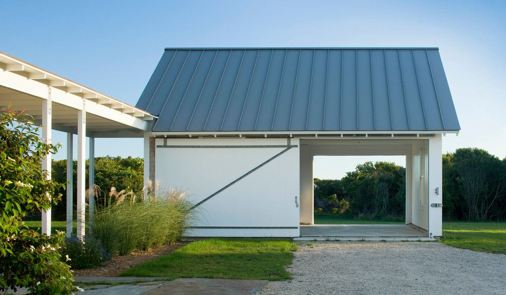 Flat roof double garage garage contemporary with pass for Flat roof garage with deck plans