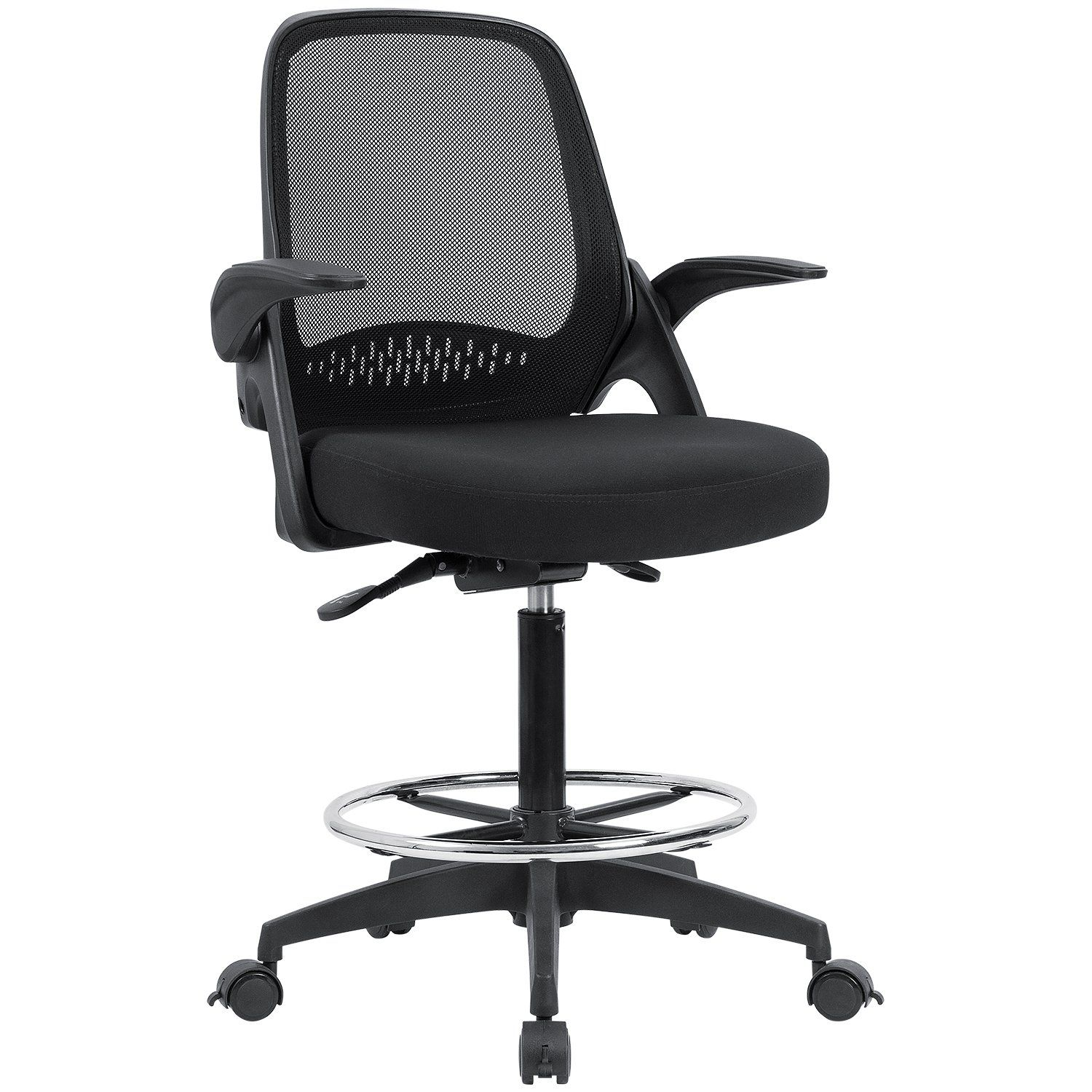 Devoko drafting chair with flipup armrests tall office