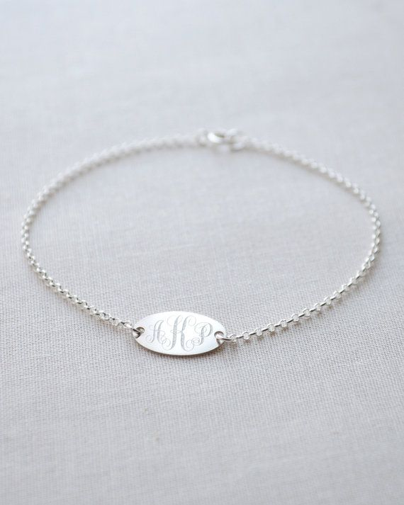 Petite Oval Monogram Bracelet   by Olive Yew - the perfect personalized bridesmaid gift in silver, gold or rose gold.