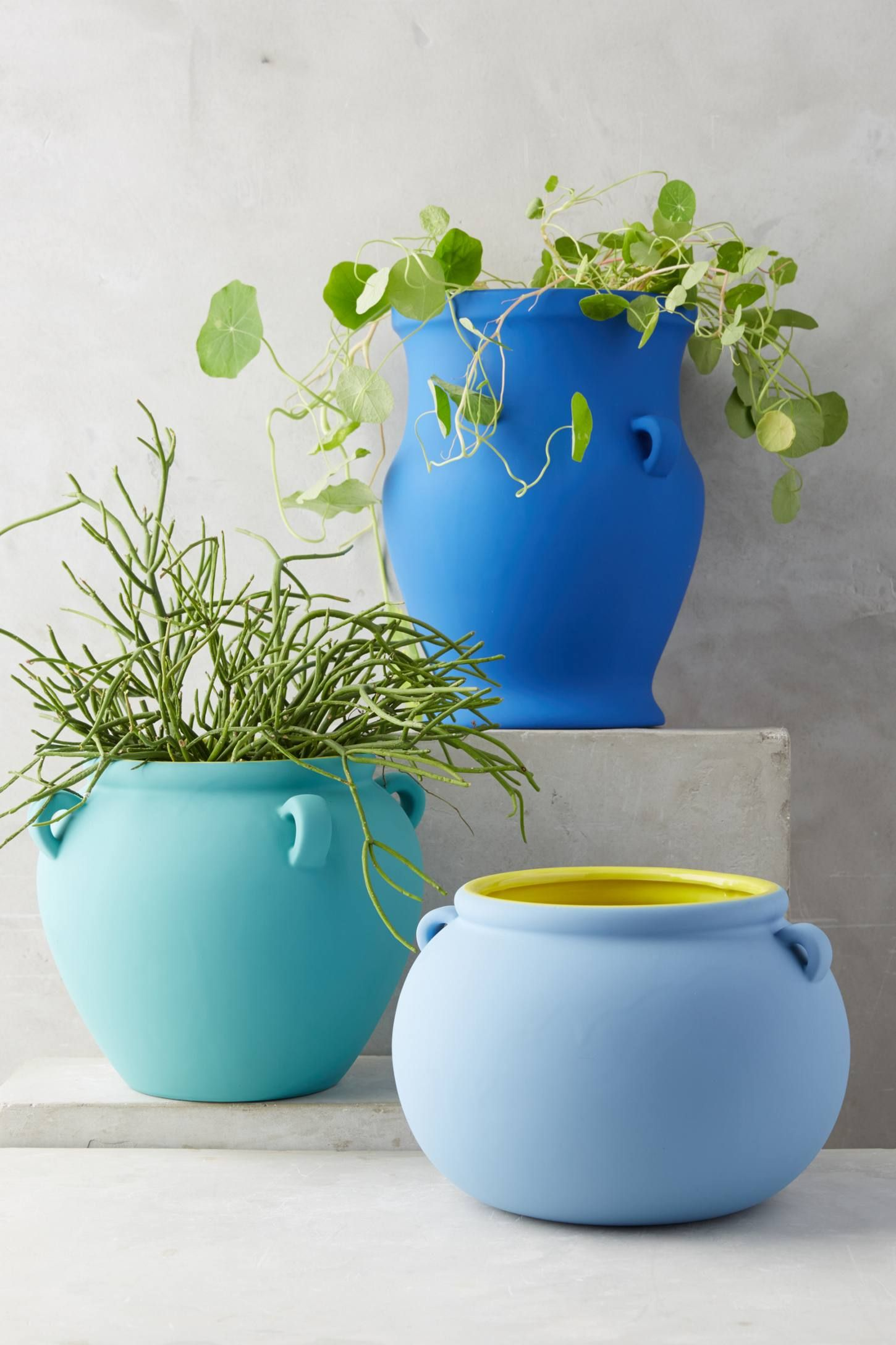 Pierre Color Contrast Pot Blue Planter Flower Pots Outdoor Buy Plants