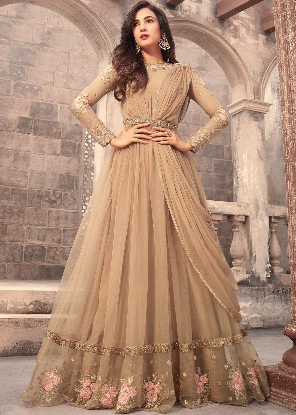 2cec326544 Panash Scinitllating Suits - Buy Sonal Chauhan Beige Net Abaya Style Suit  online, Work: Resham Work, Stone Work, Zari, Color : Beige, Occassion :  Engagement ...