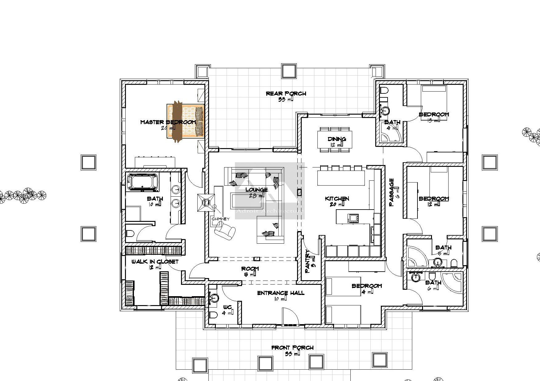 12 bedroom bungalow house plan in Kenya  Bungalow floor plans