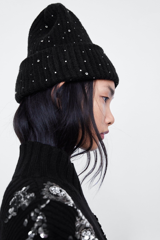 Image 4 Of Beanie With Rhinestones From Zara Rhinestone Winter Hats Beanie