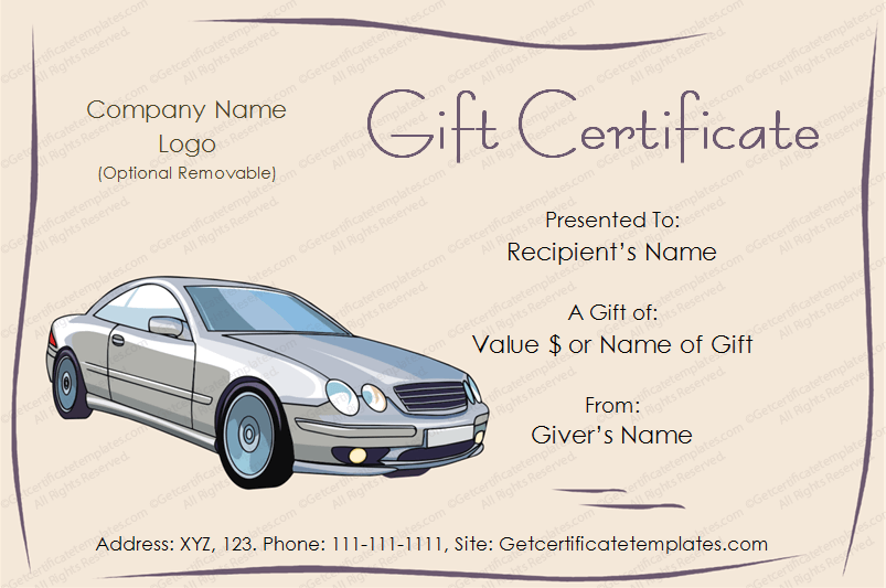 Freegiftcard giftvoucher giftcertificate car gift for Automotive gift certificate template free