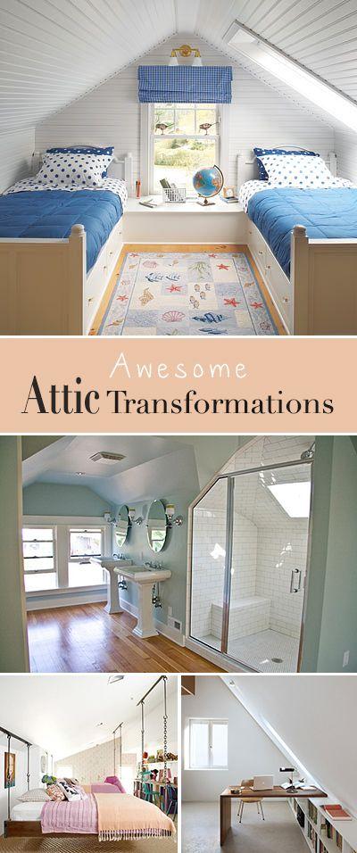 7 Awesome Attic Transformations Attic Bedrooms Attic Spaces Attic Renovation