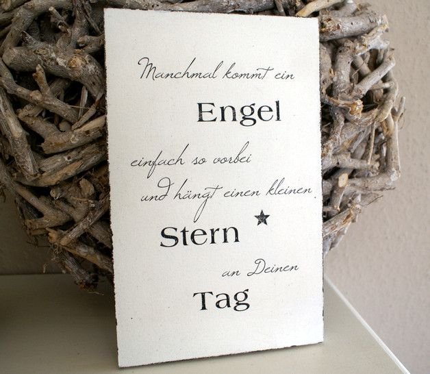 "Schild Holz ""Manchmal Kommt Ein Engel ..."" Shabby"