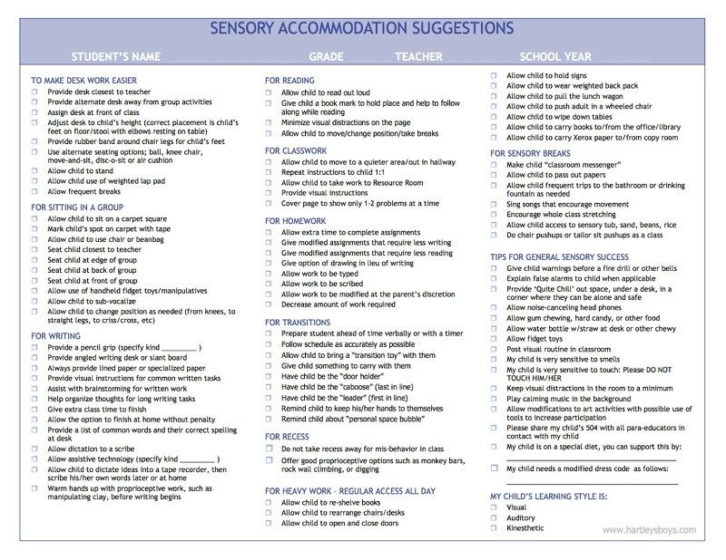 Nice Resource for common sensory accomodations in the school environment.  Could be nice handout to individualize for students and give to teacher.