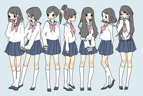 7 Anime Girls Anime Friends Anime School Uniform Character Art Anime School Girl Drawings