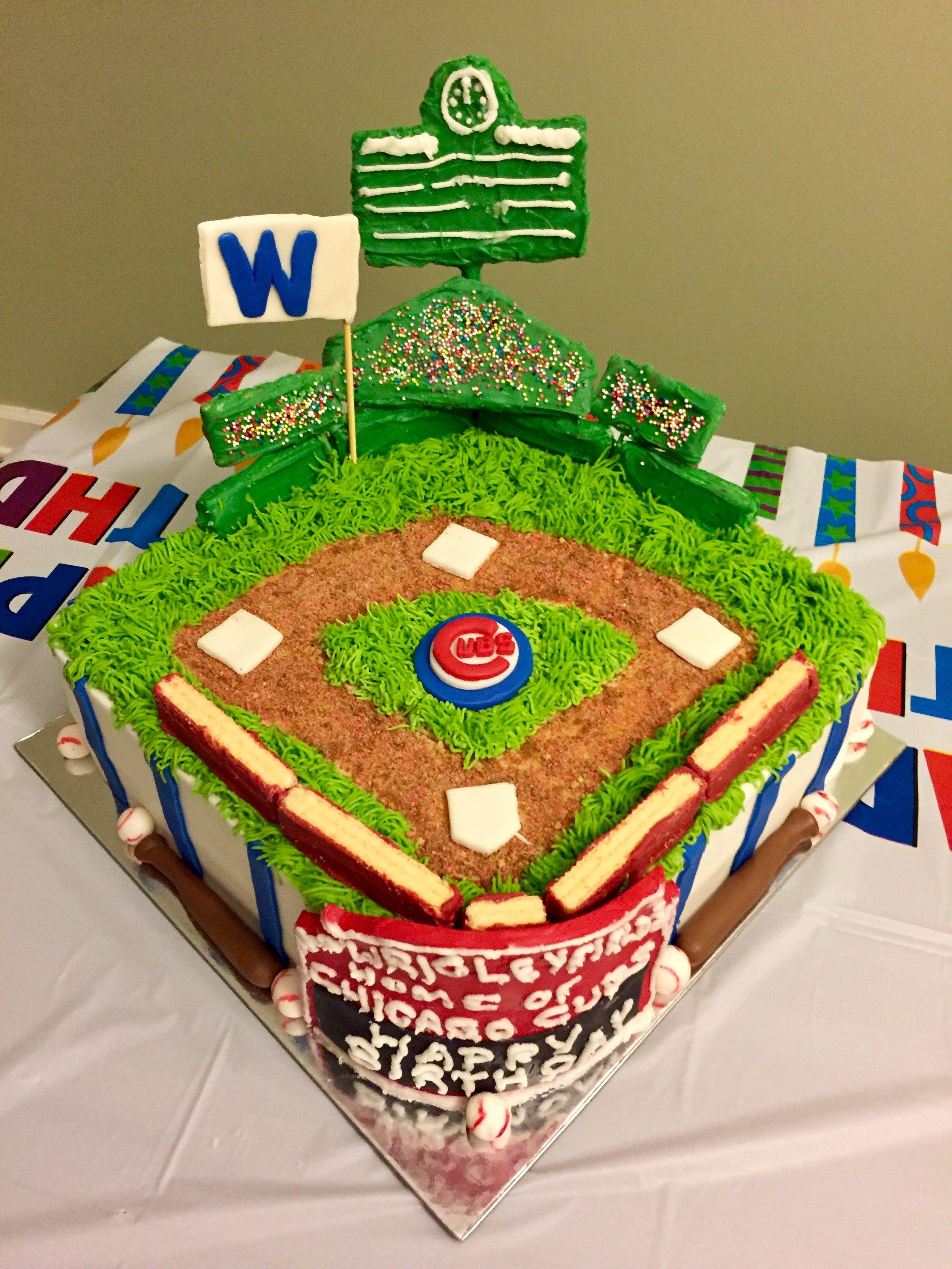 Chicago Cubs Wrigley Field Birthday Cake CubsChicagoBaseball - Chicago map showing wrigley field