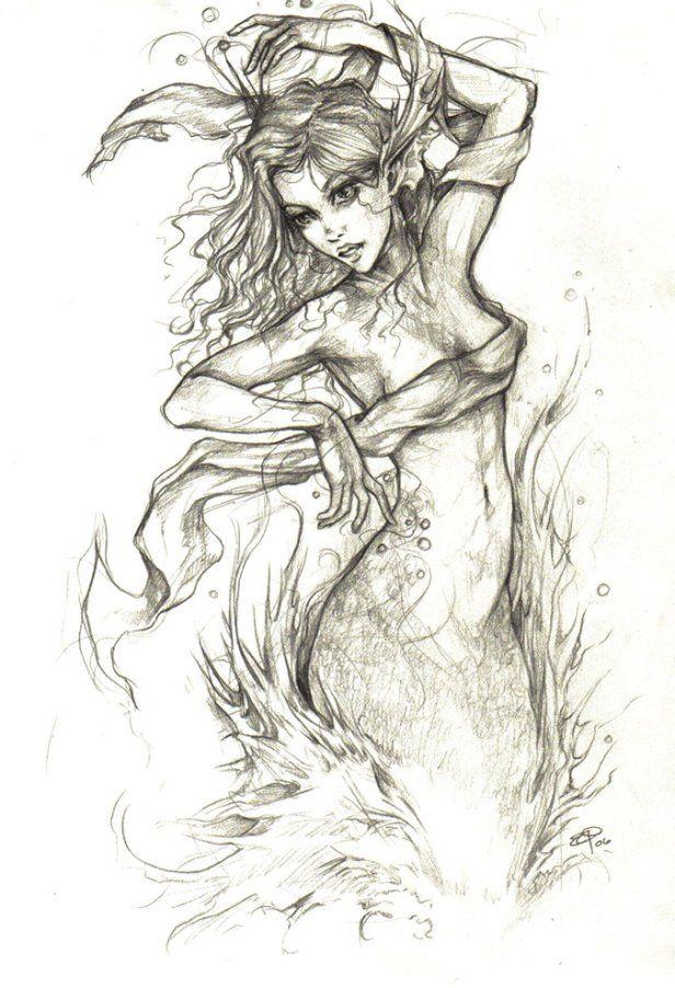 Mermaid drawing | Tattoos | Pinterest | Sirenitas, Dibujo y Dibujar