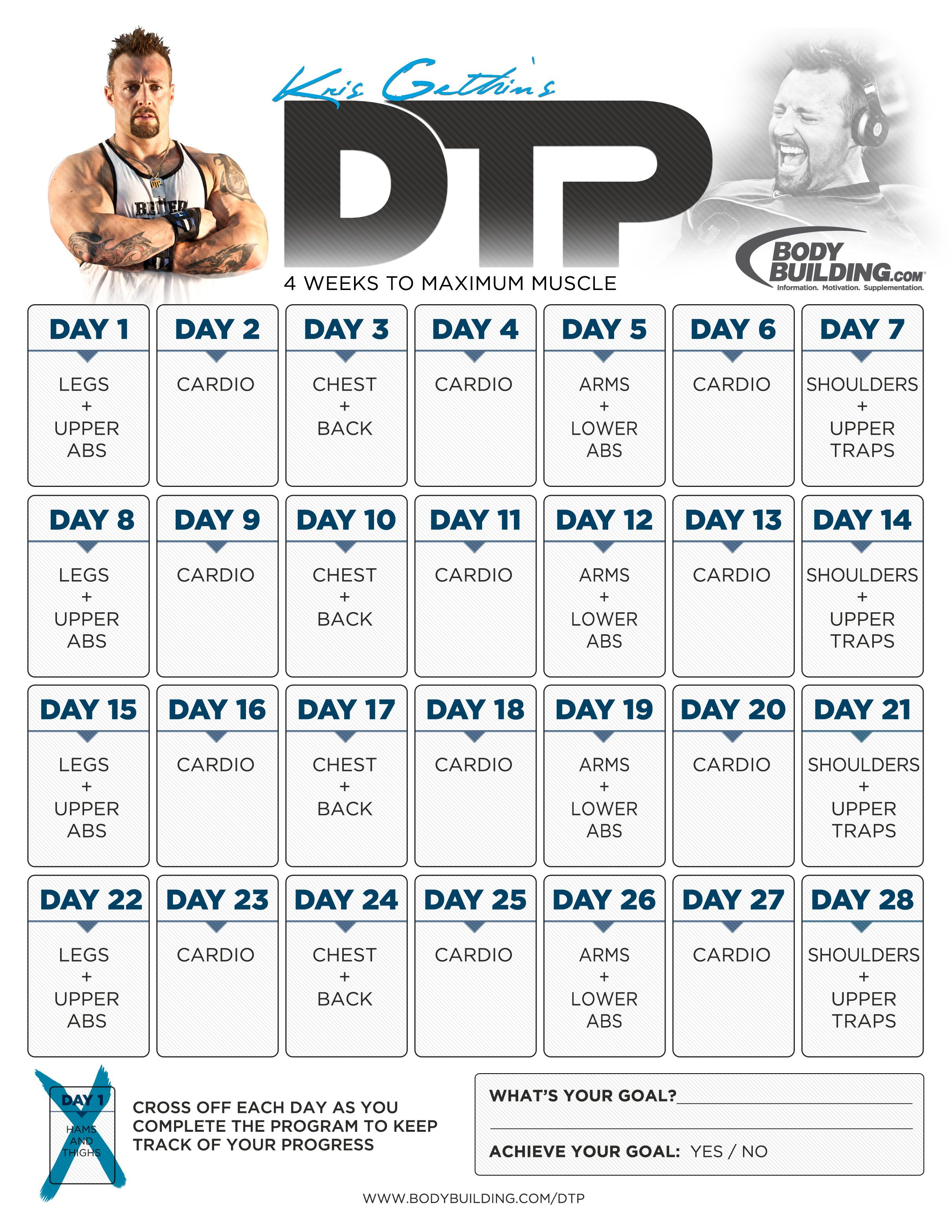 Gym Workout Chart For Chest For Men Kris Gethin 39s Dtp 4 Weeks To Maximum Muscle Fitness