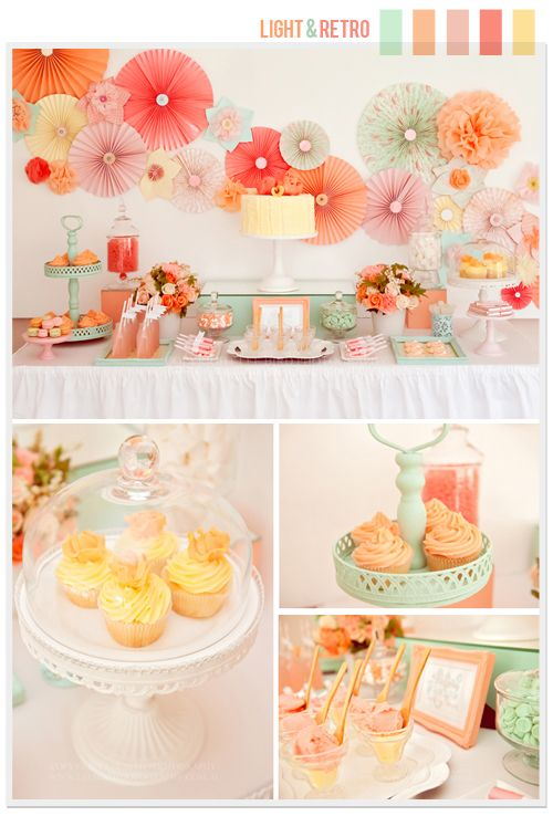 Love the colors for this party too! But what I really love are all the paper fans on the wall. I can do that! @Nadie YaSabes