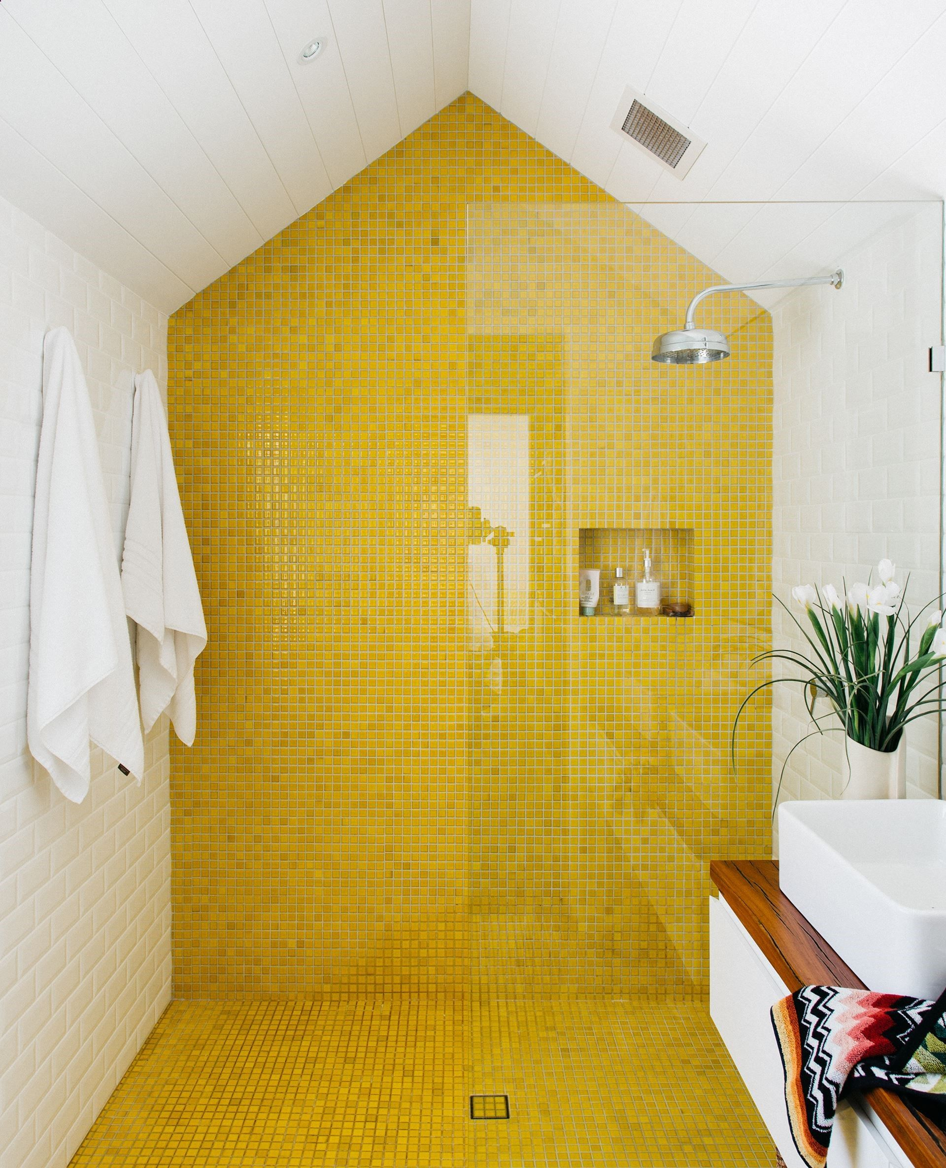 Bad designtrends colourful ensuite from renovation of a heritage sandstone cottage in