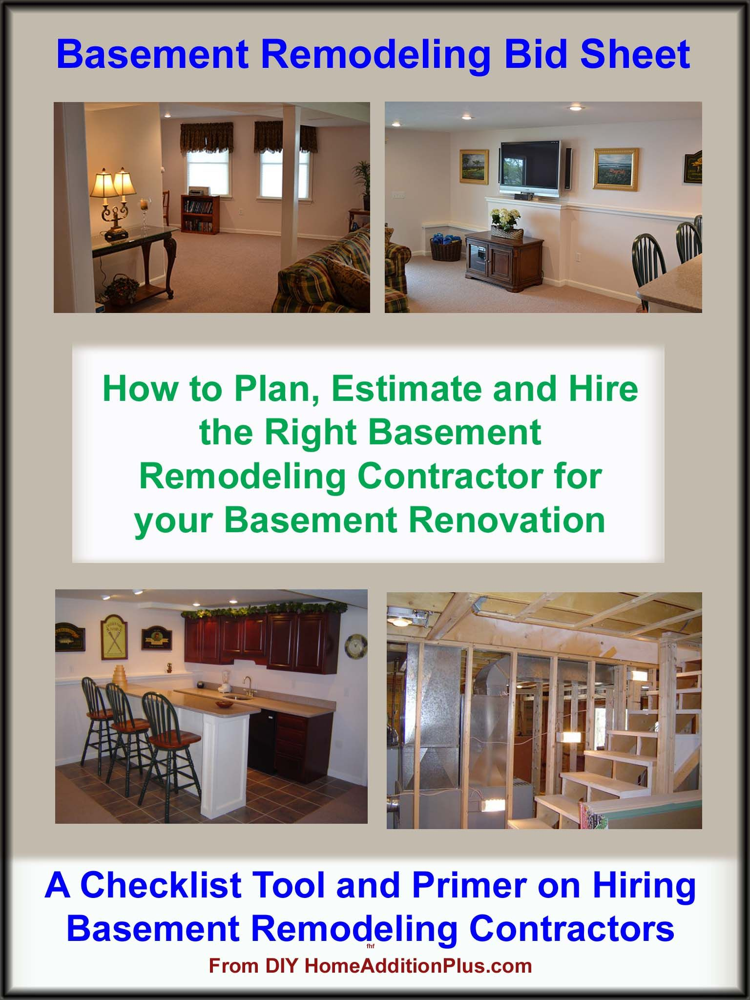 Here Is A Basement Remodeling Bid Sheet For Helping Homeowners Hire The  Right General Contractor And