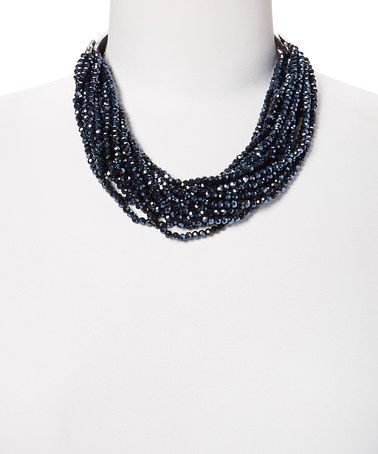 Loving this Jet Crystal & Faux Leather Beaded Cluster Necklace on #zulily! #zulilyfinds