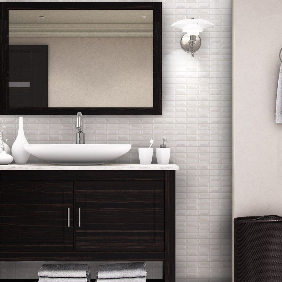 Shop allen + roth Piano White Scale Mosaic Glass Wall Tile (Common ...